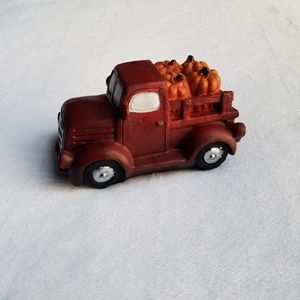 Pumpkin Red Truck Ceramic Decor